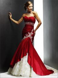 Vestido longo de tafetá cor de vinho on-line-Borgonha Sereia Longo Gótico Vestido De Noiva Com Cor Querida Ruched Tafetá Não Branco Vestidos de Noiva