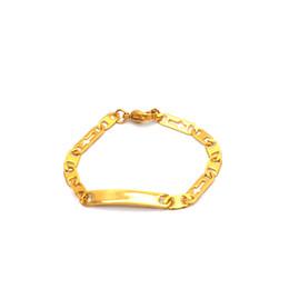 6a55ea4c785f Cadena Baby Bar ID pulsera dorada mano cadena de acero inoxidable  personalizada inicial regalo de los niños al por mayor Br051742