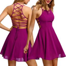 Heiße rosa damen minikleider online-Sommer-reizvolle Kleid-Frauen 2019 Dame Chiffon Backless Bandage Strap Sleeveless Parteikleid-Robe femme vestidos Pink / Schwarzes