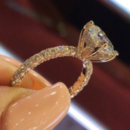 2019 jóias cheias de ouro chinês Atacado- Wieck jóias de luxo Espumante 925 silverrose Gold Filled forma redonda branco Topaz CZ diamante Pave Engagement banda anel
