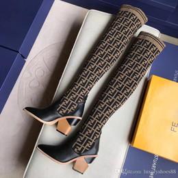 2019 botas de corcho Moda diseñador de lujo mujer tacón alto Stretch-Knit calcetines botas 22 pulgadas sobre la rodilla botas F transpirable botas de invierno de las señoras elásticas