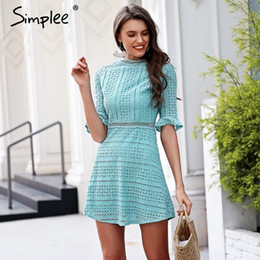 2800dc9a752 Simplee Elegant hollow out lace dress women Half sleeve summer style midi  white dress 2018 Spring short casual dress vestidos Y190117