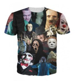Magliette di film horror online-Uomo Donna Moda Estate Stile Horror Movie Killers 3D Tees Stampato a maniche corte Girocollo T-shirt casual Top WR057