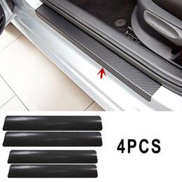 mat vw Promotion 4pcs seuil de porte de voiture Scuff bienvenue pédale protecteur autocollants en fibre de carbone tapis tapis pour VW KIA