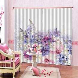 Cortinas moradas de flores online-2 Unids / Set cortinas púrpuras cortinas de la ventana de flores frescas para sala de estar dormitorio apagón