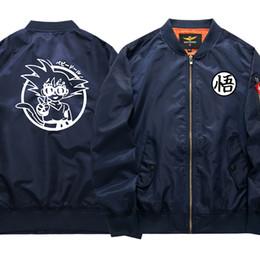 casaco z Desconto Anime Dragon Ball Z Goku impressos Homens jaqueta casual gola Magro WuKong Mens Jackets Baseball Uniform Brasão Manteall Homme