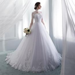 Vestidos de casamento do vintage de alta neck mangas compridas vestidos de casamento botão de volta vestido de noiva vestidos de novia de