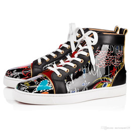 zapatos de charol al aire libre de las mujeres Rebajas Para hombre primavera / verano SS18 Leather Collection Patente Graffiti 18S Blanco, Negro inferior rojo de las mujeres, zapatos de boda de los hombres al aire libre del partido Loubitag