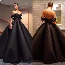 2a152ca33d6 Princesse Noire Arabe Robes De Bal 2019 Hors Épaule Perles Paillettes Dos  Nu Robes Formelles Robe De Bal Célébrité Pageant Robes De Soirée