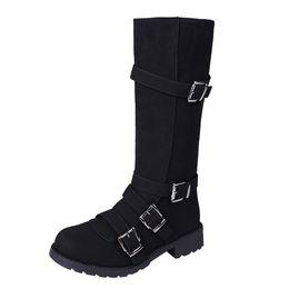 fibbie di stivali al ginocchio Sconti Stivali alti da donna da donna con fibbia Stivali lunghi da moto romani invernali Scarpe Tinta unita Nero Cachi Grigio Sella Scarpa Fondo