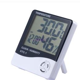 Deutschland 150 stücke Digital LCD Temperatur Hygrometer Uhr Luftfeuchtigkeitsmesser Thermometer mit Uhr Kalender Alarm HTC-1 Versorgung