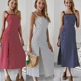 11d48e1249 Lunares Imprimir Vendaje Vestidos Mujeres Verano Vintage Jumper Casual Side  Split Cuello sin mangas Vestido Blanco Azul marino Borgoña