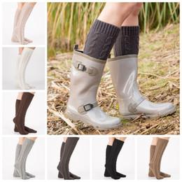 c6e05d713064e 2019 botas de inicialização Tricô Mulheres Longo Meias de Inicialização de  lã flor Flor Cuffs Coxa