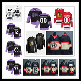 Maglia nera hockey online-Chicago Blackhawks 2020 Combatte Pratica Cancro Nero Retro Jersey Kirby Dach Jonathan Toews Patrick Kane Crawford Debrincat Griswold Keith