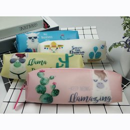 Linda bolsa coreana online-Cute School Pencil Case Kawaii Cactus Pencil Bag Pouch Sheep Box Silicone Pen Case For Girls Boys Gift Korean Stationery