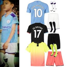 19 20 Manchester kids kit Soccer Jerseys 2019 2020 camiseta casa lontano terzo # 10 KUN AGUERO # 7 STERLING city # 26 MAHREZ bambino CAMICIE CALCIO da