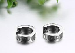 aguafuerte de acero inoxidable Rebajas Señoras coreanas pendientes de aro de moda pendientes de estrella de grabado simple para las mujeres de alta calidad 361L joyería de acero inoxidable brincos