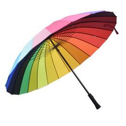 Прямой ручка для дождя онлайн-24 к ребра цвет радуги мода длинной ручкой прямой анти-УФ-солнце/дождь зонт руководство большой зонт