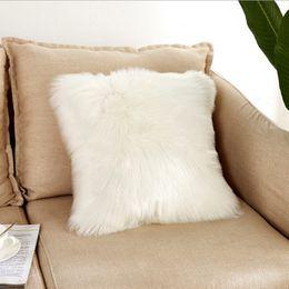 vida navideña decoración de navidad Rebajas 40 * 40 cm de lana suave del Faux colchón lavable caliente almohada de asiento Hairy larga amortiguador de la felpa para el coche sin oficina central Sillas Sofás