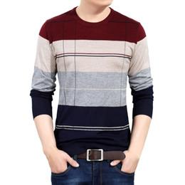 homens crochet pullover Desconto 2018 marca social de algodão fino dos homens blusas de pulôver de crochê listrado camisola de malha masculina dos homens roupas de jersey 5066