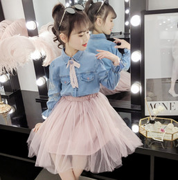 4f3cfa448d5 Girls lace Bows tie floral embroidery lapel falbala sleeve denim shirt+lace  tulle skirt 2pcs sets 2019 new kids princess outfits 3-15T F4923 cute denim  ...