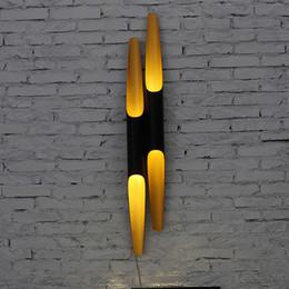 arte pós-moderna Desconto Coltrane do vintage levou luz de parede para casa tubo de alumínio tubo preto preto ouro cabeça única / cabeças duplas pós-moderna parede Scone