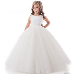 Ball Gown Principessa Fiore ragazze abiti in rilievo Vita ragazza pizzo abito da festa di nozze aperto indietro abiti laurea bambini da