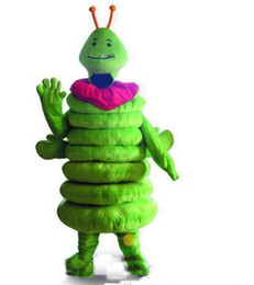 Costume della mascotte caterpillar online-2018 Factory Outlets hot Green Caterpillar Worm Mascot Costume Fancy Party Dress Costumi di carnevale di Halloween