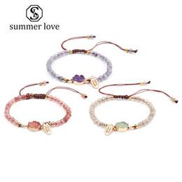 Bernstein perlen armband online-Neue Handgemachte 4 MM Bernstein Stein Geflochtene Perlen Armband für Frauen Rosa Lila Weiß Einstellbar Weave Armband Modeschmuck