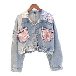 2019 denim blue sequin jacket DEAT 2019 Outono Buraco Jean Jaqueta Curto Lantejoula Denim Cropped Light Blue Jacket Splice Casaco Feminino MF976 desconto denim blue sequin jacket