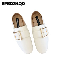 87fa7aae59e13 Genuine Leather Soft Metal China Foldable White Flats Slip On Loafers Round  Toe Women Chinese Wide Fit Shoes Ladies Japanese