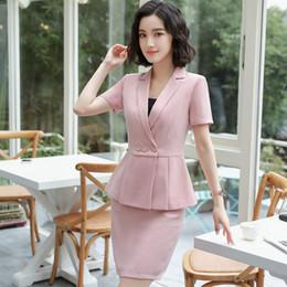 дамы плюс короткие пиджаки Скидка Plus Size Elegant Summer Women Blazers Short 2 Pieces Set Mini Skirt + Suit Set Ladies Office Work Sets