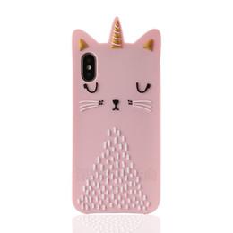 Super chats en Ligne-3D Cartoon Pink Cat Silicon Case for IPhone X XS 8 7 Case 6 6S Plus Phone Shell Couple Kawaii Super Cute Cases Case