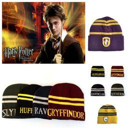 Tampão do crânio de ravenclaw on-line-Hot Harry Potter Beanie Chapéu Slytherin Glyffindor Hufflepuff Ravenclaw Cap Cosplay Listrado Crânio Caps Cap Inverno desigener hatsT2C5066