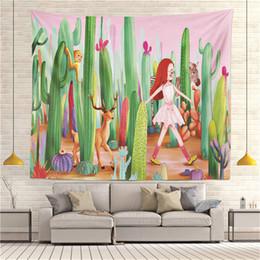 2019 aquarelle paysage art Cactus Aquarelle Tenture murale Tapisseries Mandala Tapisserie Bohème Paysage Papier Peint Mural Art Châle Lancer Couverture Chambre Décor aquarelle paysage art pas cher