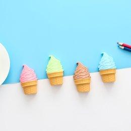 mini apontadores de lápis Desconto Dos desenhos animados Kawaii Ice Cream apontador de lápis de papelaria Student presente 10pcs furo duplo de plástico apontador de lápis criativa HK0590