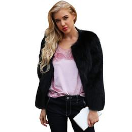 Abrigo de piel sintética de invierno de las mujeres sólido de manga larga mullida prendas de vestir exteriores chaqueta corta peludo abrigo sobredimensionado manteau femme hiver desde fabricantes