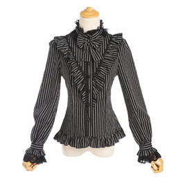викторианские блузки Скидка Spring women striped lace shirt Vintage Victorian Bandage shirt Ladies gothic swallowtail blouse lolita costume wq1865