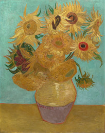 Imagens de girassol impressão on-line-Vincent Van Gogh Sunflower giclée lona arte da parede Home Decor Artesanato / HD cópia da pintura a óleo sobre tela Wall Art Canvas Pictures 190917