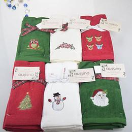 Toalhas de mão de natal on-line-New Toalha decorativa luxo mão conjunto de toalhas Presente de Natal bordado boneco de neve Papai Noel cozinha toalhas de prato