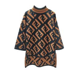 Campana anteriore online-Autunno e inverno F lettera alta collo sette minuti manica lunga anteriore a maniche corte maglione lungo mezza maglia maglione lavorato a maglia
