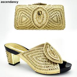 sapatas de harmonização italianas Desconto Senhoras italianas sapatos e malas para combinar conjunto decorado com strass Plus Size sapatos Mulheres mulheres de calcanhar e conjunto de saco na Itália