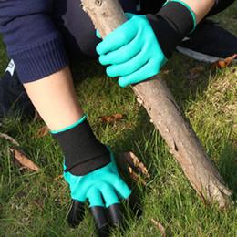 Wasserdichte gartenhandschuhe online-Garden Genie Handschuhe Mit Fingerspitzen 4 Claws Green Dig und Plant Safe Pruning Handschuhe Garden Waterproof Digging Gloves ZZA430
