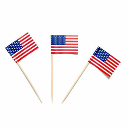 5000 pezzi USA AMERICANO USA Bacchette Bandiera USA Picks Party Sandwich Food Cup Cake Picks Cocktail Flag Sticks Cocktail Legno Tavolo Decorazione in legno da