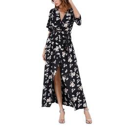 2020 vestido maxi de corda V-neck lace corda manga comprida cintura cor floral bordado chiffon maxi dress vestido de impressão verão das mulheres vestido maxi de corda barato