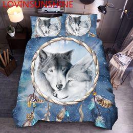 conjuntos de cama de lobo queen size Desconto LOVINSUNSHINE King Size Conjunto De Cama 3d Capa de Edredão Set Wolf Bedding Sets Rainha DS01 #
