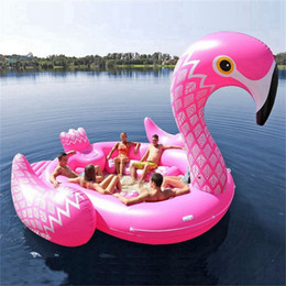 Zattere galleggianti online-Giant Inflatable Boat Unicorn Flamingo Pool Floats Raft Swimming Ring Lounge Summer Pool Beach Party Water Float Air Mattress HHA1348
