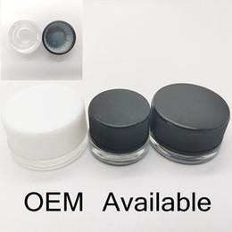 Kosmetische jar cap online-Glasglas Wachsbehälter OEM Pre- Roll Aufkleber 5ml Klarglas kosmetisches Glas mit Kindergesicherte Cap Flatcap 29g