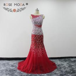 красные хрустальные розы Скидка Роза Moda красный Русалка Пром платье Кристалл Светоотражающие платья 2019