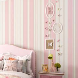 PAYSOTA Kind-Raum-Tapete Schlafzimmer Romantische rosa Prinzessin Zimmer  Umwelt Non-Woven-Streifen-Wand-Papier-Rolle